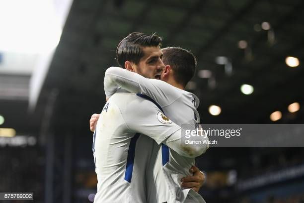 Eden Hazard of Chelsea celebrates scoring his side's second goal with his team mateAlvaro Morata during the Premier League match between West...