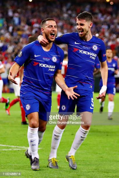 Eden Hazard of Chelsea celebrates scoring his sides third goal with teammate Jorginho during the UEFA Europa League Final between Chelsea and Arsenal...