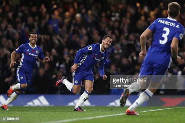 Eden Hazard of Chelsea celebrates scoring his teams fourth goal during the Premier League match between Chelsea and Everton at Stamford Bridge on...