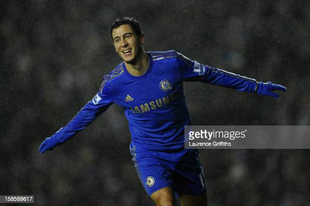 Eden Hazard of Chelsea celebrates scoring his team's fourth goal to make the score 14 during the Capital One Cup QuarterFinal match between Leeds...