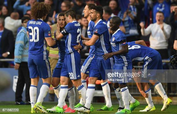 Eden Hazard of Chelsea celebrates scoring his team's third goal with team mates during The Emirates FA Cup SemiFinal between Chelsea and Tottenham...