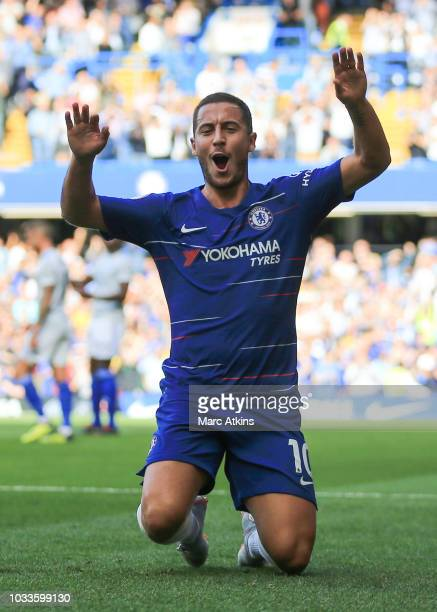 Eden Hazard of Chelsea celebrates scoring the equalising goal during the Premier League match between Chelsea FC and Cardiff City at Stamford Bridge...