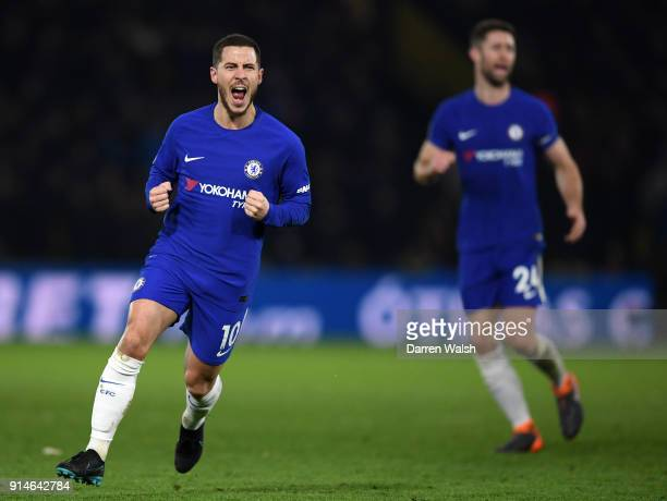 Eden Hazard of Chelsea celebrates scoring the first Chelsea goal during the Premier League match between Watford and Chelsea at Vicarage Road on...