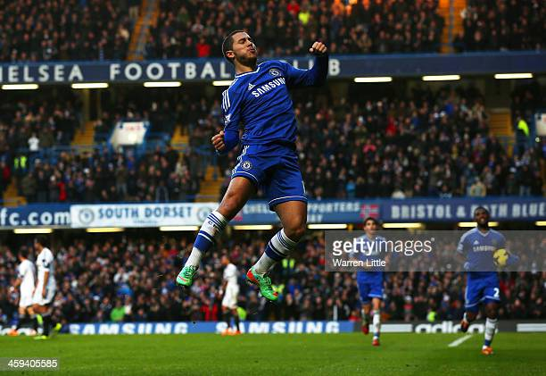 Eden Hazard of Chelsea celebrates scoring the first goal during the Barclays Premier League match between Chelsea and Swansea City at Stamford Bridge...
