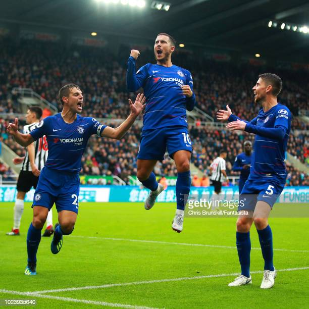 Eden Hazard of Chelsea celebrates scoring the opening goal during the Premier League match between Newcastle United and Chelsea FC at St James Park...