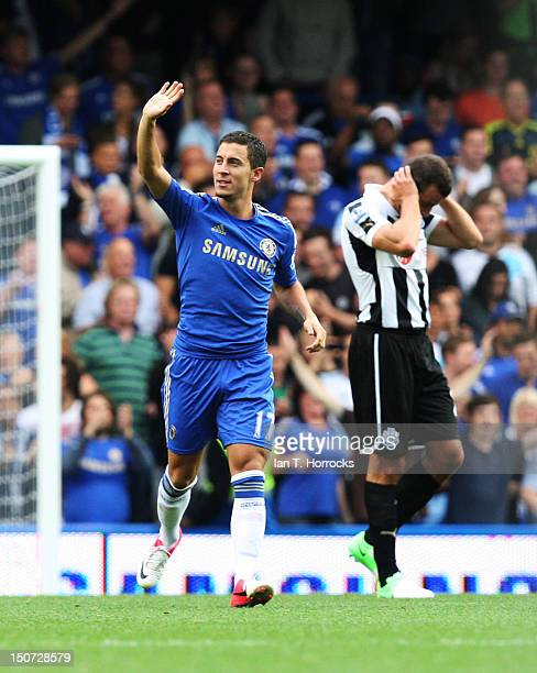 Eden Hazard of Chelsea celebrates scoring the opening goal during the Barclays Premier League match between Chelsea and Newcastle United at Stamford...