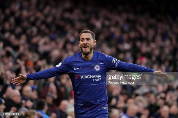 Eden Hazard of Chelsea celebrates scoring the third goal during the Premier League match between Chelsea FC and Huddersfield Town at Stamford Bridge...