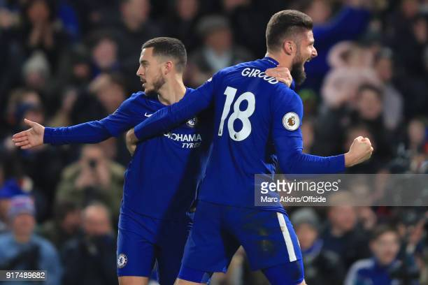 Eden Hazard of Chelsea celebrates scoring their 1st goal with Olivier Giroud during the Premier League match between Chelsea and West Bromwich Albion...
