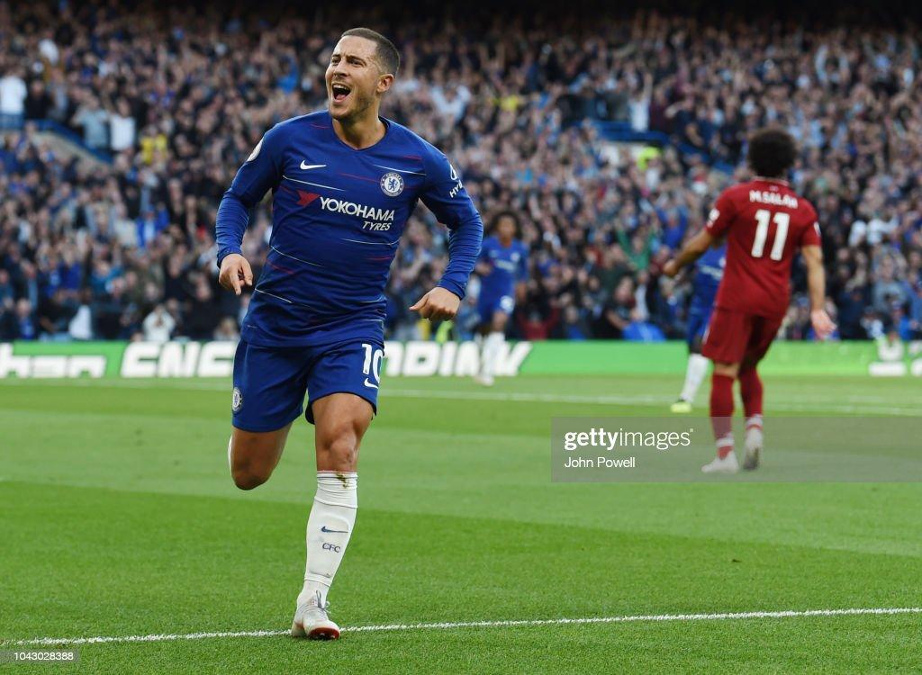 Eden Hazard Of Chelsea Celebrates The Opening Goal During