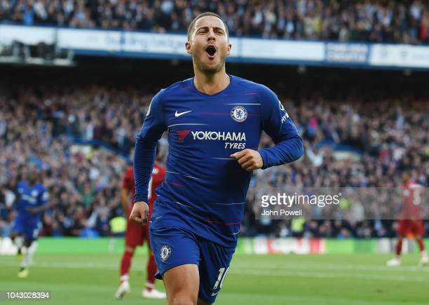 Eden hazard of Chelsea celebrates the opening goal during the Premier League match between Chelsea FC and Liverpool FC at Stamford Bridge on...