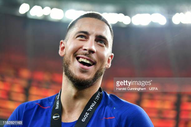 Eden Hazard of Chelsea celebrates victory after the UEFA Europa League Final between Chelsea and Arsenal at Baku Olimpiya Stadionu on May 29, 2019 in...