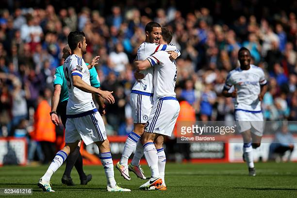 Eden Hazard of Chelsea celebrates with Branislav Ivanovic of Chelsea after scoring his sides second goal during the Barclays Premier League match...