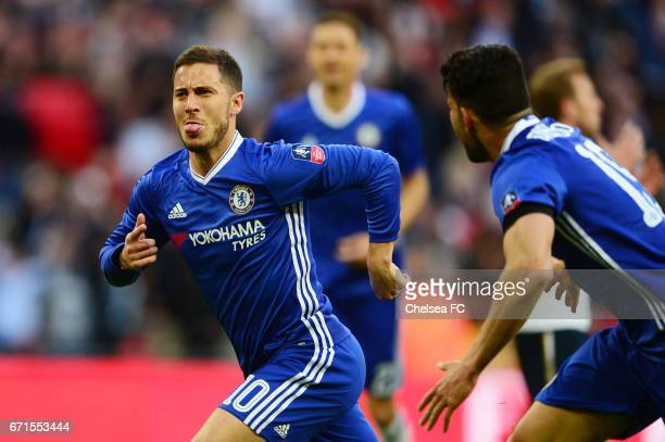 Eden Hazard of Chelsea celebrates with Diego Costa of Chelsea after he scores his sides third goal during The Emirates FA Cup SemiFinal between...
