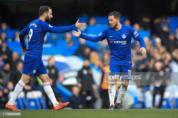 Eden Hazard of Chelsea celebrates with Gonzalo Higuain oduring the Premier League match between Chelsea FC and Wolverhampton Wanderers at Stamford...