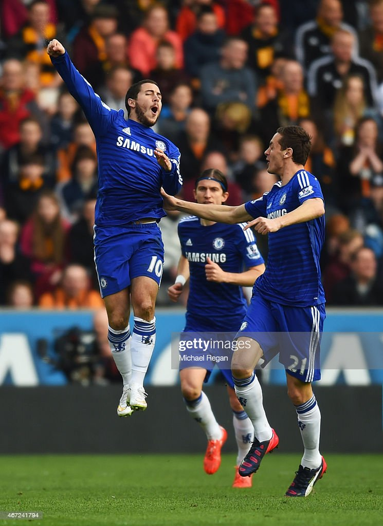 Eden Hazard of Chelsea (10) celebrates with Nemanja Matic (21) as he scores their first goal during the Barclays Premier League match between Hull City and Chelsea at KC Stadium on March 22, 2015 in Hull, England.