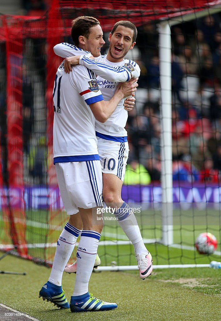 Eden Hazard of Chelsea celebrates with Nemanja Matic of Chelsea after scoring his sides fourth and his second goal during the Barclays Premier League match between A.F.C. Bournemouth and Chelsea at the Vitality Stadium on April 23, 2016 in Bournemouth, United Kingdom.