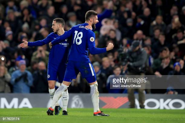 Eden Hazard of Chelsea celebrates with Olivier Giroud during the Premier League match between Chelsea and West Bromwich Albion at Stamford Bridge on...