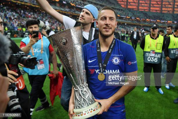 Eden Hazard of Chelsea celebrates with the Europa League Trophy following his team's victory in the UEFA Europa League Final between Chelsea and...