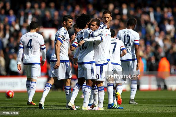 Eden Hazard of Chelsea celebrates with Willian of Chelsea after scoring his sied second goal during the Barclays Premier League match between AFC...