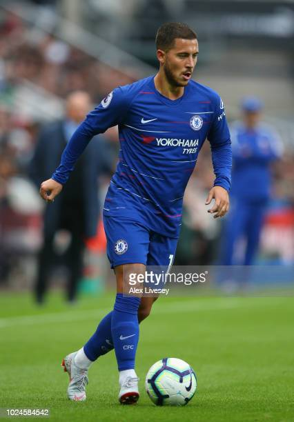Eden Hazard of Chelsea controls the ball during the Premier League match between Newcastle United and Chelsea FC at St James Park on August 26 2018...