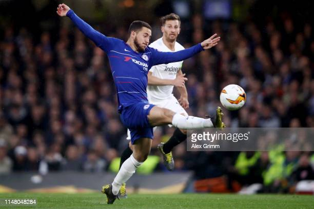 Eden Hazard of Chelsea controls the ball during the UEFA Europa League Semi Final Second Leg match between Chelsea and Eintracht Frankfurt at...