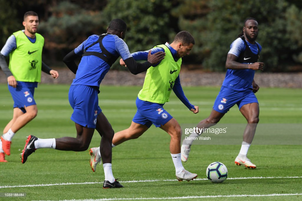 Eden Hazard of Chelsea during a training session at Chelsea Training Ground on September 14, 2018 in Cobham, England.