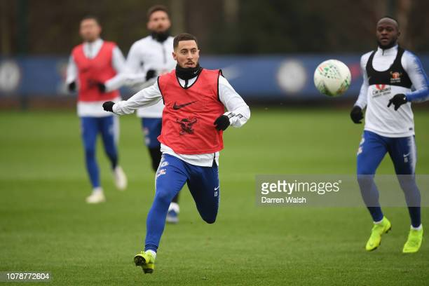 Eden Hazard of Chelsea during a training session at Chelsea Training Ground on January 7 2019 in Cobham England