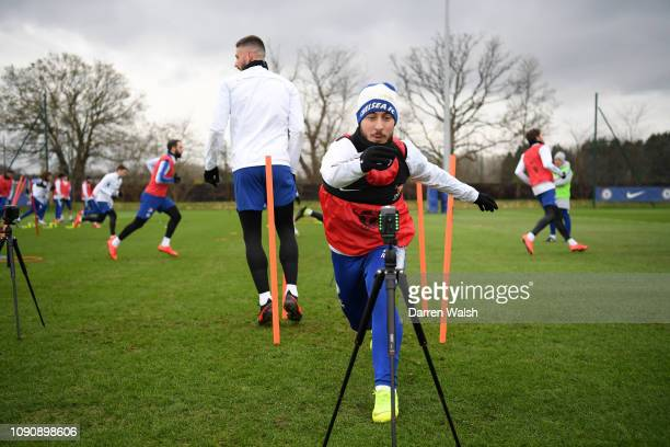 Eden Hazard of Chelsea during a training session at Chelsea Training Ground on January 29, 2019 in Cobham, England.
