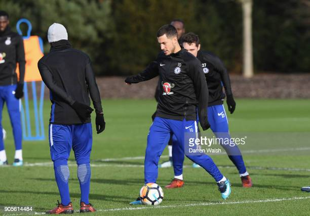 Eden Hazard of Chelsea during a training session at Chelsea Training Ground on January 16 2018 in Cobham England