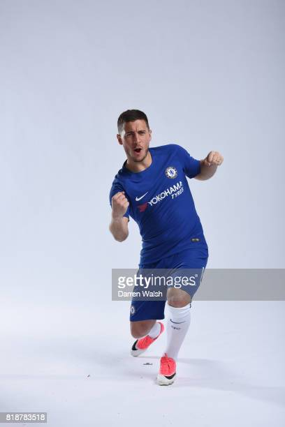 Eden Hazard of Chelsea during the New Nike Kit Photoshoot at Chelsea Training Ground on April 18 2017 in Cobham England