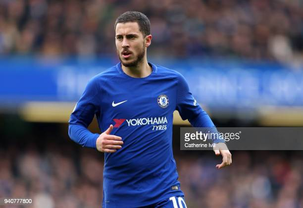 Eden Hazard of Chelsea during the Premier League match between Chelsea and Tottenham Hotspur at Stamford Bridge on April 1 2018 in London England