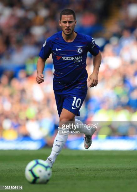 Eden Hazard of Chelsea during the Premier League match between Chelsea FC and Cardiff City at Stamford Bridge on September 15 2018 in London United...