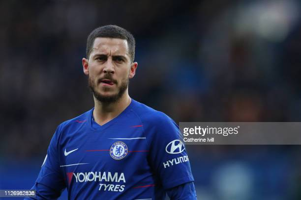 Eden Hazard of Chelsea during the Premier League match between Chelsea FC and Huddersfield Town at Stamford Bridge on February 02 2019 in London...