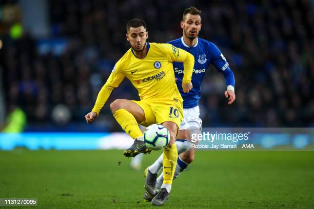 Eden Hazard of Chelsea during the Premier League match between Everton FC and Chelsea FC at Goodison Park on March 17 2019 in Liverpool United Kingdom