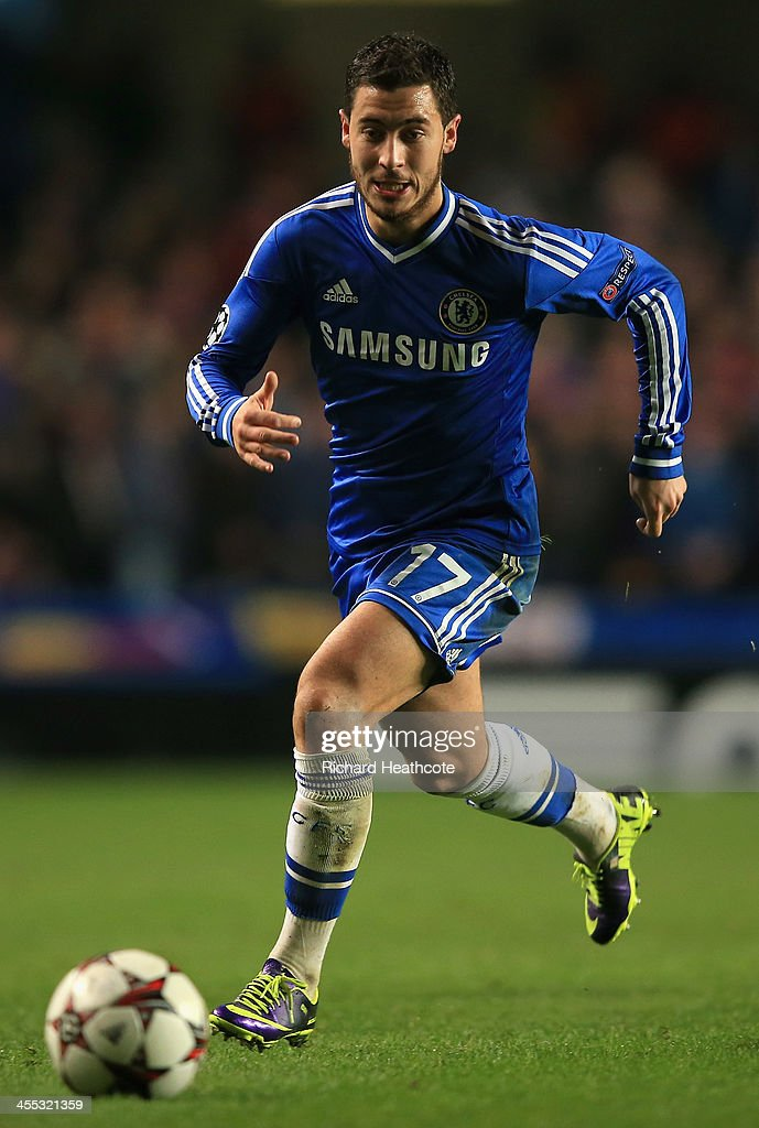 Eden Hazard of Chelsea during the UEFA Champions League group E match between Chelsea and Steaua Bucuresti at Stamford Bridge on December 11, 2013 in London, England.