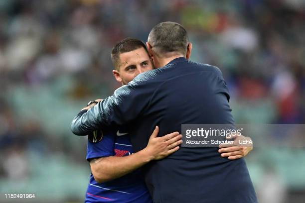 Eden Hazard of Chelsea embraces Maurizio Sarri, Manager of Chelsea as he is subbed during the UEFA Europa League Final between Chelsea and Arsenal at...