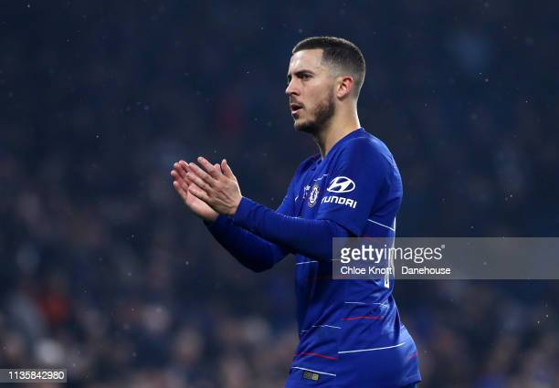 Eden Hazard of Chelsea FC applauds the fans after the Premier League match between Chelsea FC and West Ham United at Stamford Bridge on April 8 2019...