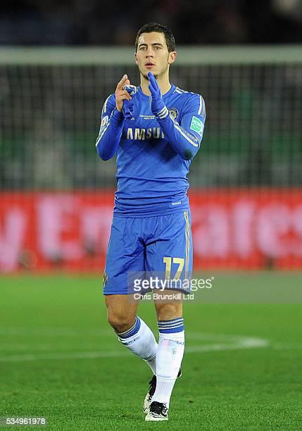 Eden Hazard of Chelsea FC applauds the fans at fulltime