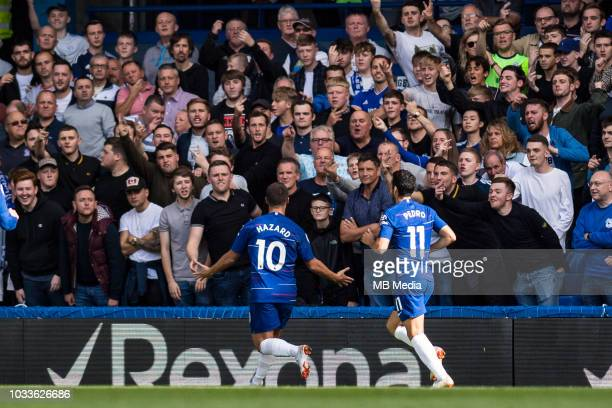 Eden Hazard of chelsea FC celebrate 2nd goal on front of away fans during the Premier League match between Chelsea FC and Cardiff City at Stamford...