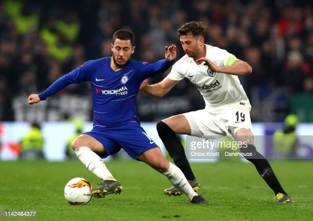 Eden Hazard of Chelsea FC David Abraham of Eintracht Frankfurt in action during the UEFA Europa League Semi Final Second Leg match between Chelsea FC...