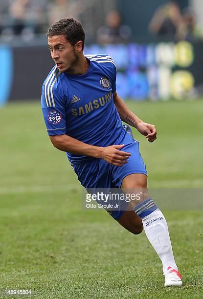 Eden Hazard of Chelsea FC dribbles against the Seattle Sounders FC at CenturyLink Field on July 18 2012 in Seattle Washington