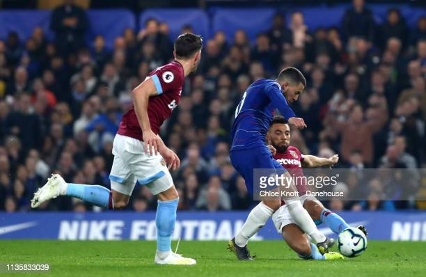 Eden Hazard of Chelsea FC Eden Hazard of Chelsea FC scores his teams first goal during the Premier League match between Chelsea FC and West Ham...