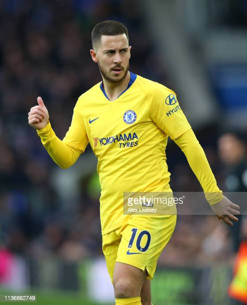 Eden Hazard of Chelsea FC gives a thumbs up during the Premier League match between Everton FC and Chelsea FC at Goodison Park on March 17 2019 in...