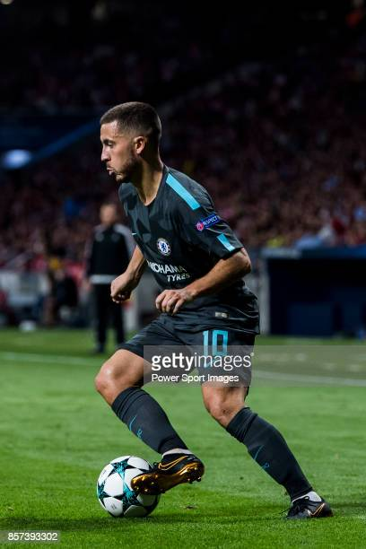 Eden Hazard of Chelsea FC in action during the UEFA Champions League 201718 match between Atletico de Madrid and Chelsea FC at the Wanda...