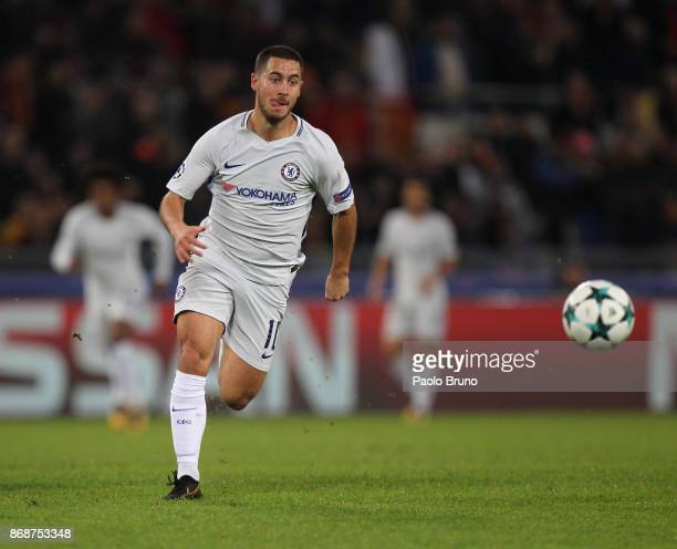 Eden Hazard of Chelsea FC in action during the UEFA Champions League group C match between AS Roma and Chelsea FC at Stadio Olimpico on October 31...