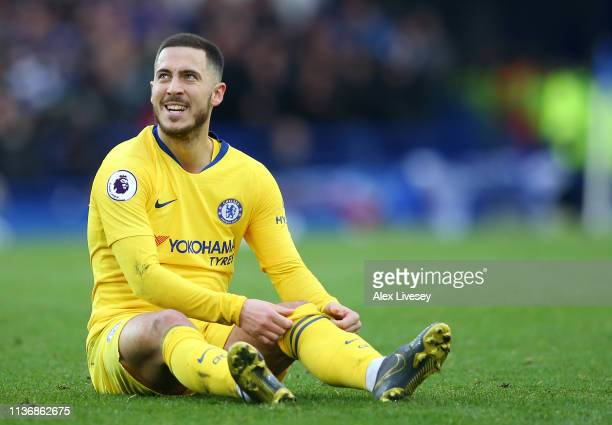 Eden Hazard of Chelsea FC looks on during the Premier League match between Everton FC and Chelsea FC at Goodison Park on March 17 2019 in Liverpool...
