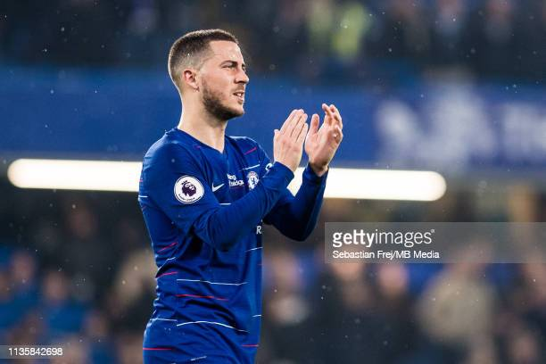 Eden Hazard of Chelsea FC reaction during the Premier League match between Chelsea FC and West Ham United at Stamford Bridge on April 8 2019 in...