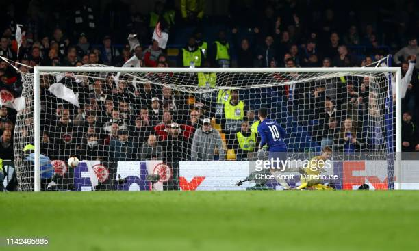 Eden Hazard of Chelsea FC scores a penalty for his team during the UEFA Europa League Semi Final Second Leg match between Chelsea FC and Eintracht...