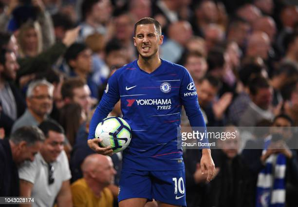 Eden Hazard of Chelsea gestures during the Premier League match between Chelsea FC and Liverpool FC at Stamford Bridge on September 29 2018 in London...