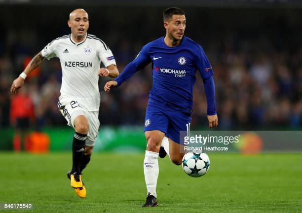 Eden Hazard of Chelsea gets away from Oliveira Richard of Qarabag FK during the UEFA Champions League Group C match between Chelsea FC and Qarabag FK...